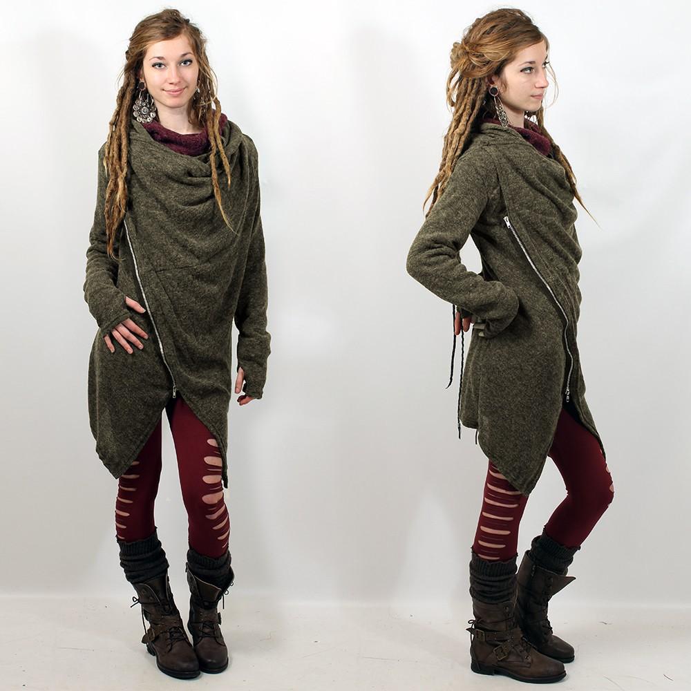 """Zipper knit cardigan Witch \""""Malyta\"""", Kaki"""