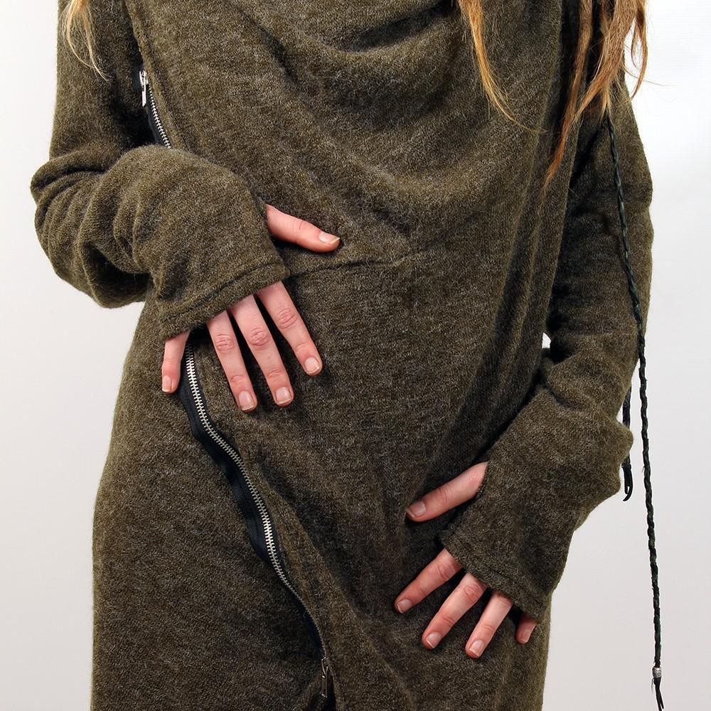"""Zipper knit cardigan witch \\\""""malyta\\\"""", khaki"""