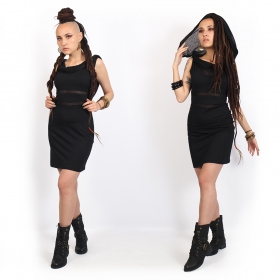 yggdrazil zoolyä sleeveless black short dress with elegant transparent details, witchy look, goth dress, pleated collar, elegant integrated shawl worn on the shoulders or hooded, girls with dreads